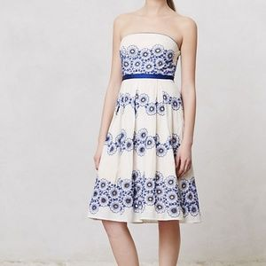 Anthropologie Forget-Me-Not Strapless Dress Sz 8